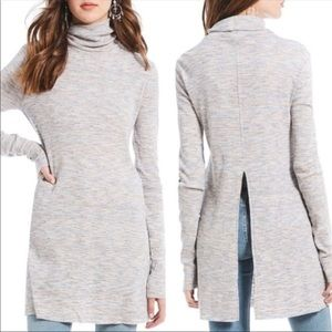 New! Free People Ivory Multicolor Split Back Tunic